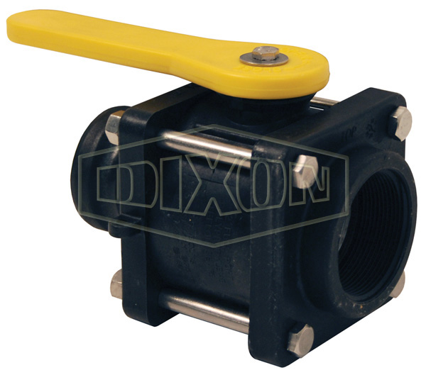 Polypropylene Compact Bolted Ball Valve Female x Adapter