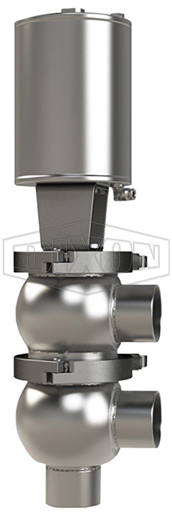 SSV Series Single Seat Valve, Divert F Body, Weld, Double Acting Actuator (Air-To-Air)