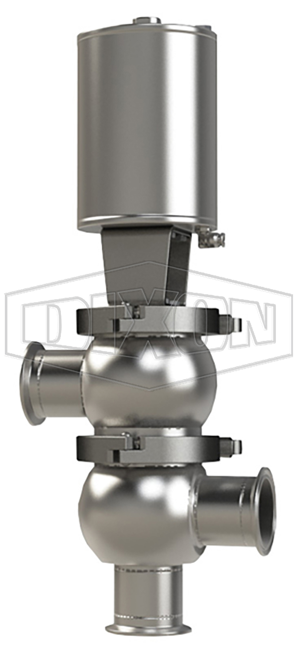 SSV Series Single Seat Valve, Divert LL Body, Clamp, Spring Return Actuator (Air-To-Raise)