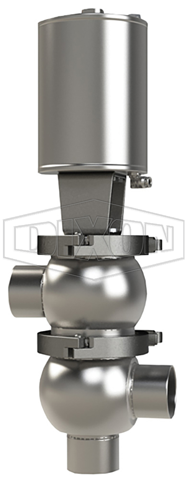 SSV Series Single Seat Valve, Divert LL Body, Weld, Spring Return Actuator (Air-To-Raise)