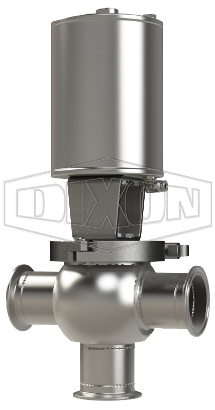 SSV Series Single Seat Valve, Shut-Off T Body, Clamp, Double Acting Actuator (Air-To-Air)